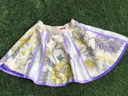 Summer Linen Skirt, Multi-Pattern, Lavender Ribbon Detail