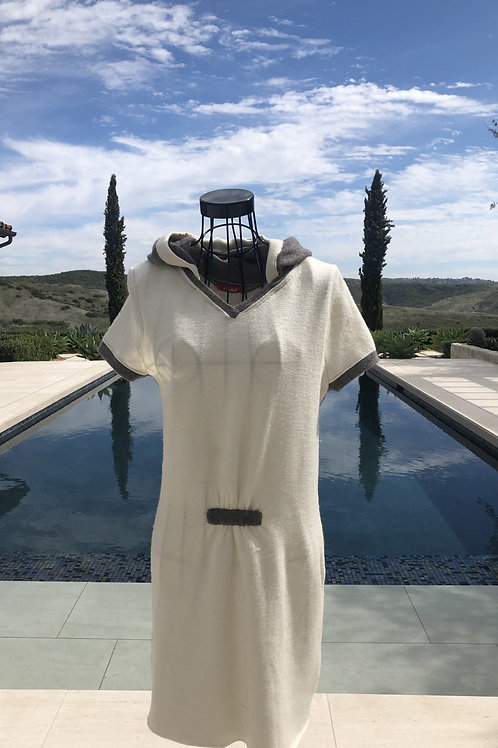 Off-White Hooded Dress w/ Beige Detail