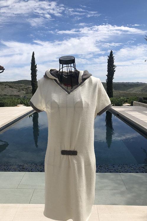 Off-White Hooded Dress w/ Beige Detail