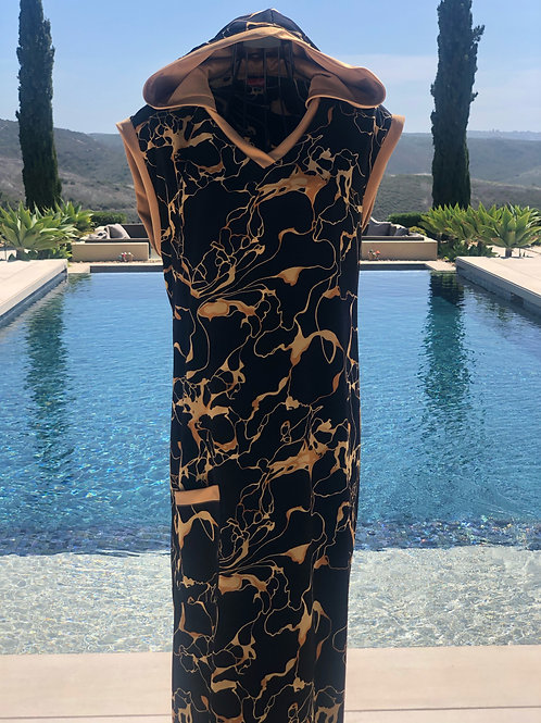 Black georgette wrap back dress with dark gold detail