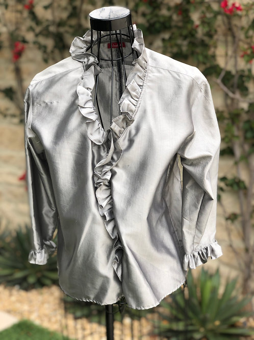 Metallic Grey Silk Blouse, Ruffle Collar & Sleeve Trim