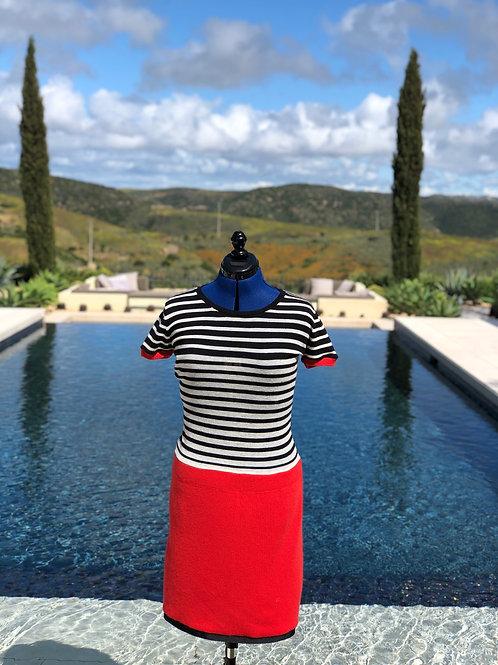 Striped Top + Crimson Bottom Dress