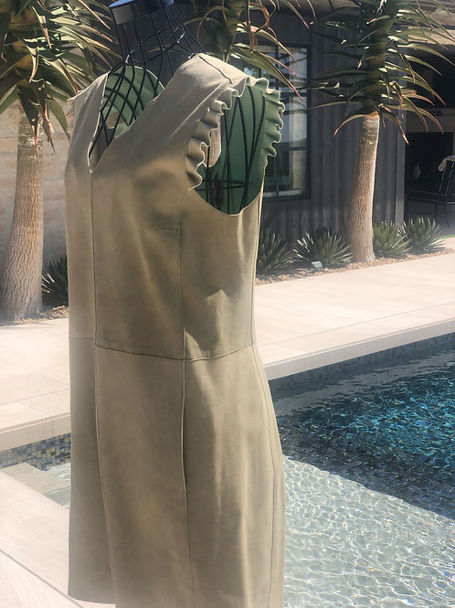 V-neck Leather Dress in Sage w/Ruffle Sleeve Detail