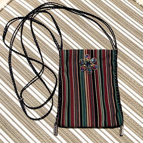 Tribal Pattern Cross-Body Bag w/Multi-Color Broche