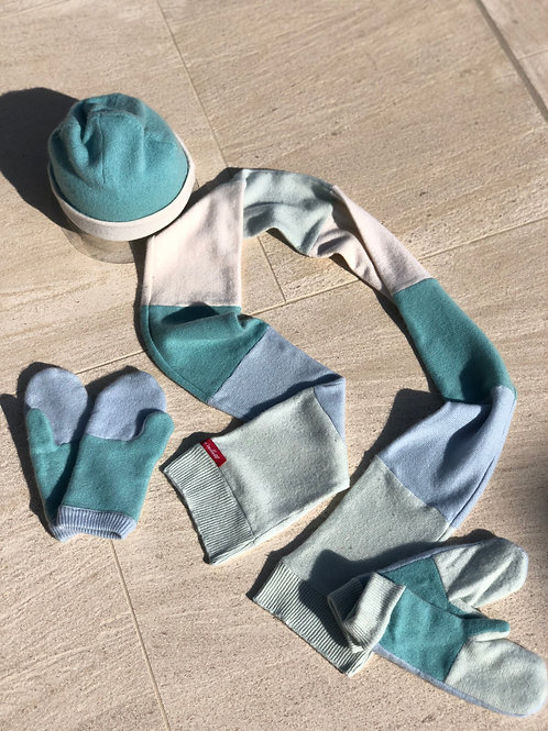 Tri-color Cashmere Winer Set: Beanie+Scarf+Mittens