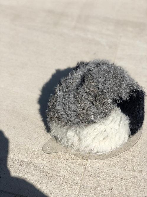 Tri-color Rabbit Fur Beanie, Stretchy