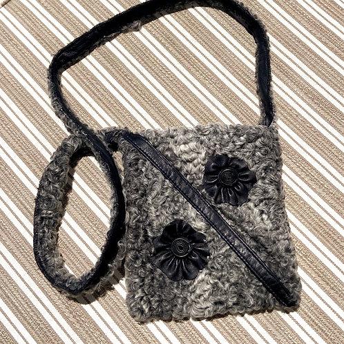 Persian Lamb & Leather Detail Cross-Body Bag