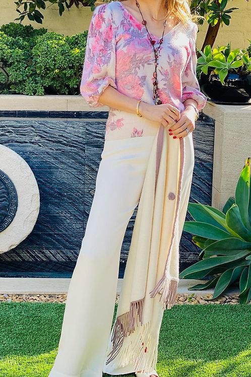 Off-white Cashmere Wrap w/Lavender Detail