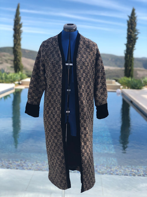 Checkered Pattern Duster w/ Black Velvet Trim & Detachable Hood