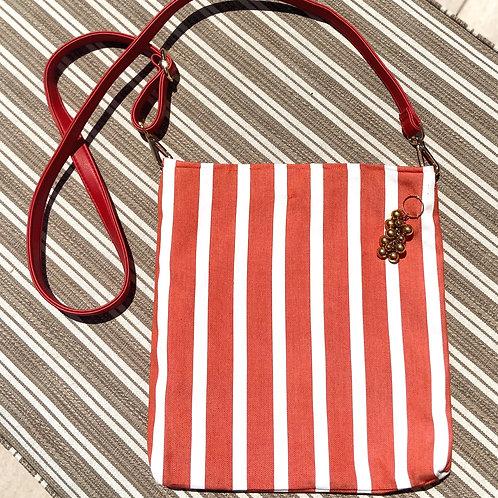 Striped Canvas Cross-Body Bag w/Grapes Brooch Detail