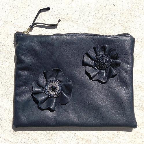 Lambskin Leather Clutch w/Leather Rosette Detail