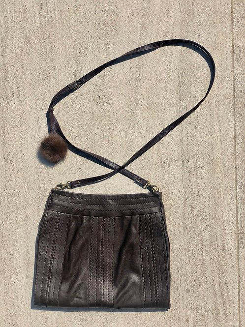 Chocolate Leather Cross Body Bag, Mink Puff Detail
