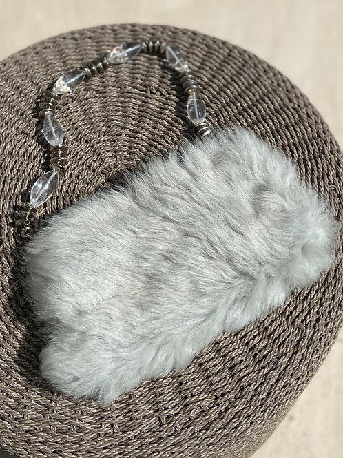 Silver Fur Purse w/Bejeweled Handle