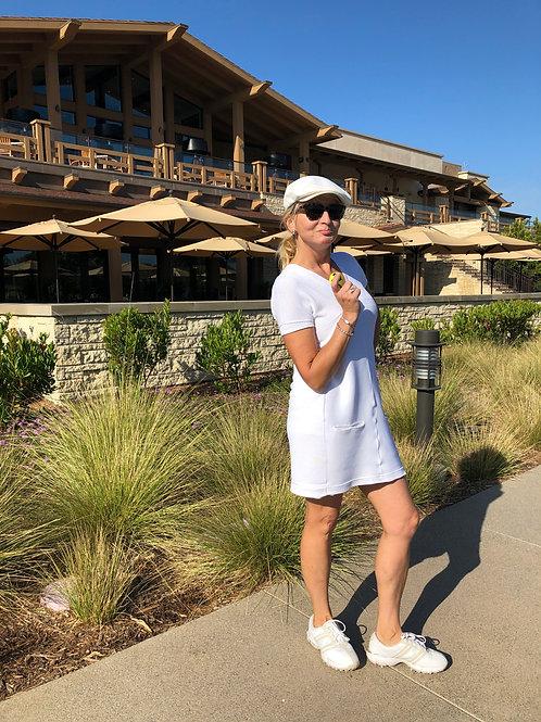 White V-Neck+Front Pockets Golf Dress