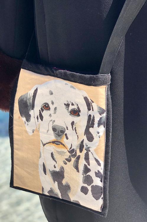 """Dalmatian Lover"" Cross Body Bag, Ivory & Black, Lined w/a Pocket"