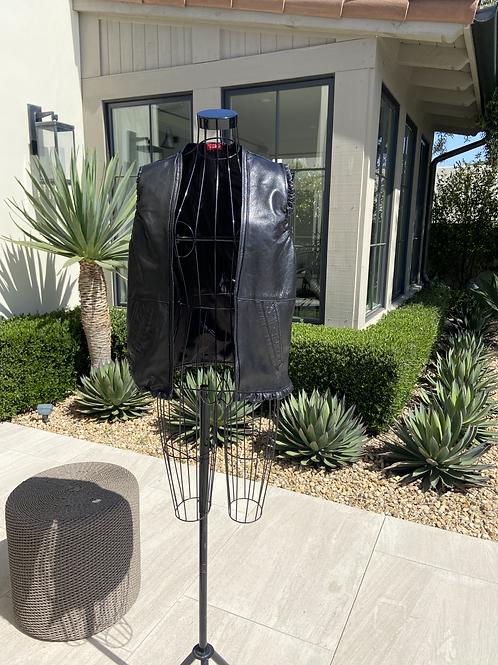 Black Leather Vest w/Ruffled Leather Trim