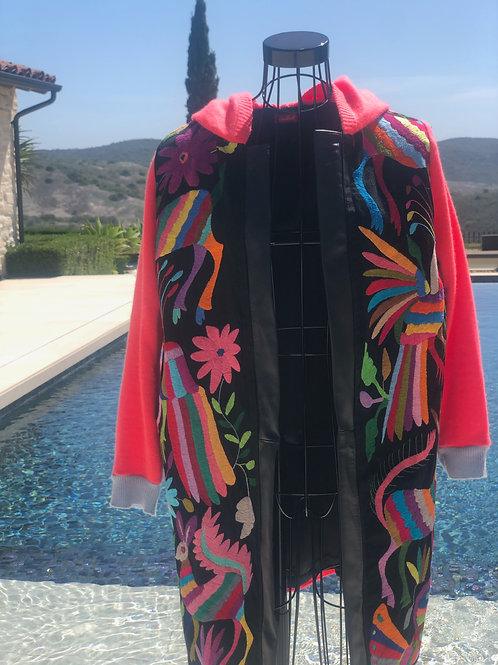 Otomi Embroidery, Cashmere & Leather Coat