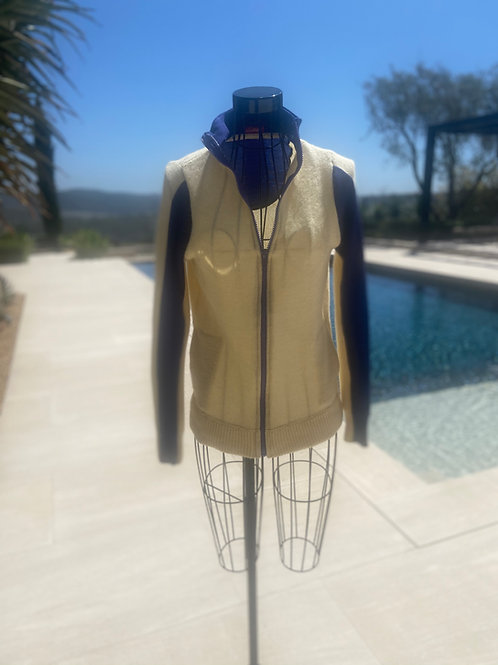 Cashmere Zip-up Sweater in Pale Yellow & Purple