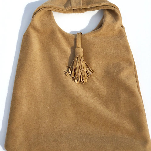 Double Layer Camel Cashmere Tote w/Leather Tussell