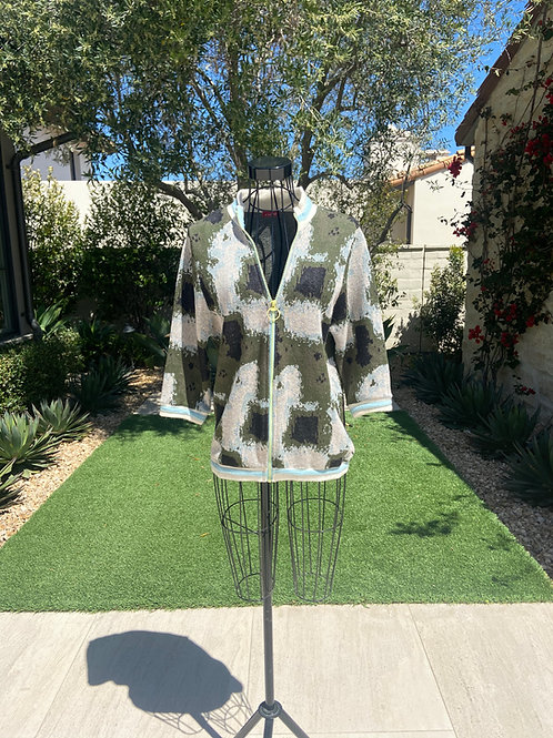 Cashmere/Wool Blend Zip-up Sweater, Abstract Pattern w/ Striped Cashmere Detail