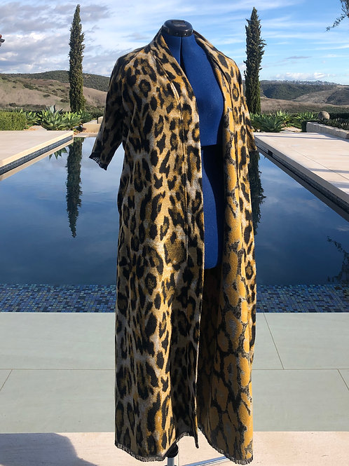 Animal Print Cashmere Duster