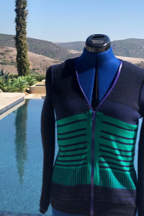 Navy Blue&Green Zip-up sweater / V-Neck+Purple Zipper