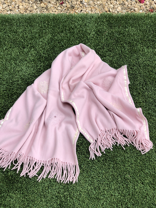 Cashmere Shawl in Pale Pink, Double Layer, Ivory Ribbon & Swarovski Detail