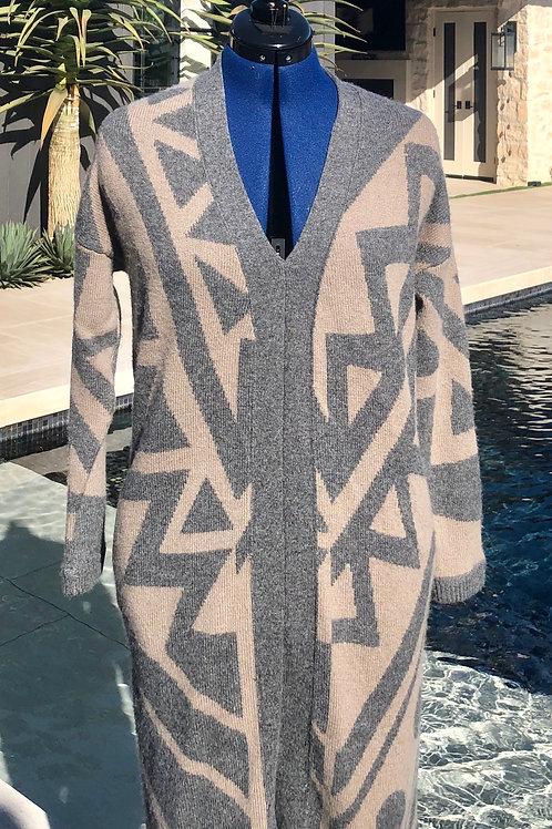 Assymetric Beige+Grey Print V-Neck+Pockets Dress