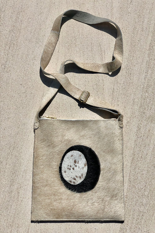 Cowhide Cross Body Bag, Ivory & Black, Lined w/a Pocket