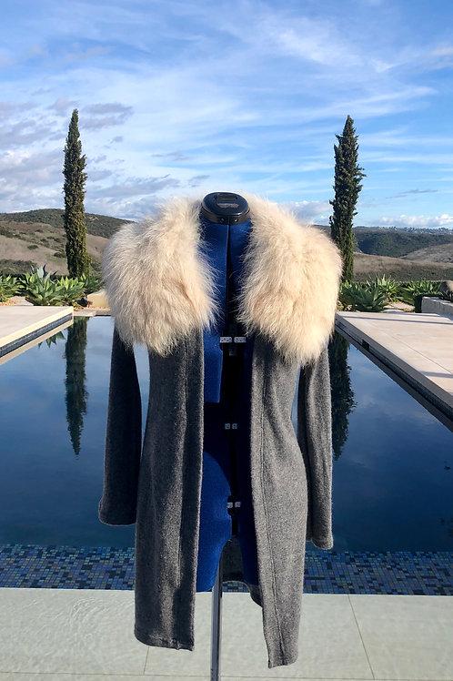 Heather Grey Duster w/Detachable Fur Collar