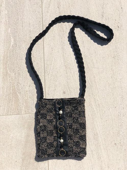 Boucle Brown & Black Cross-Body Bag w/ Cashmere Braid Strap