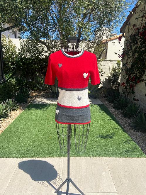 Tri-Color Cashmere Striped Top, Heart Appliqué & Contrast Detail