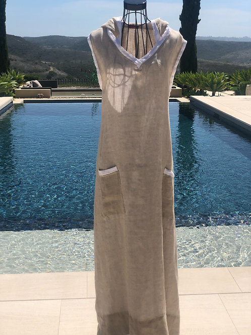 Belgian linen wrap hooded dress in sand with white trim