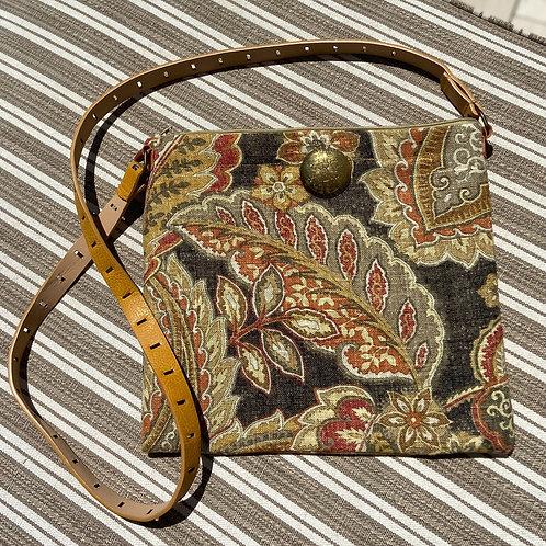 Canvas Cross-Body Bag in Paisley Pattern
