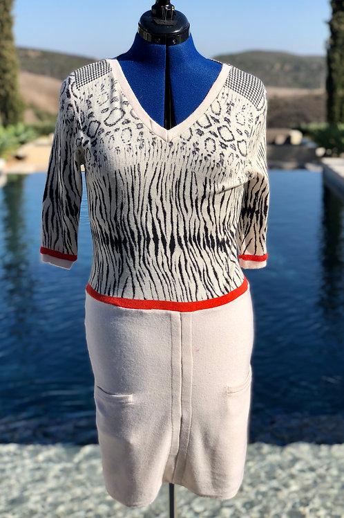 Mixed Print V-Neck Coral Trim Dress