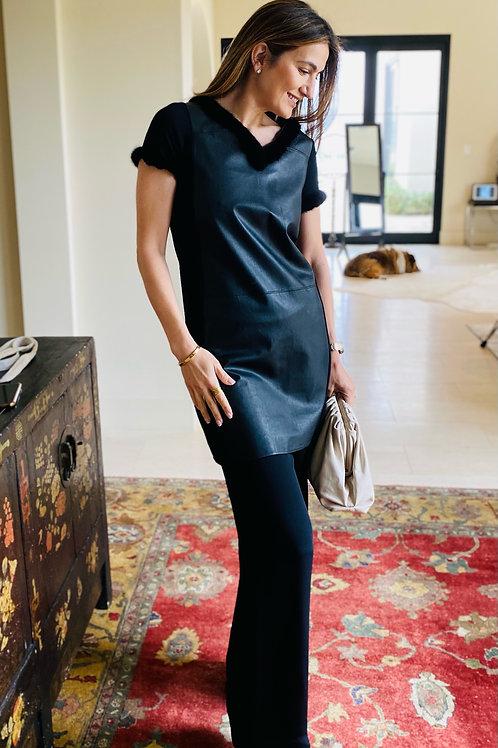 Black Leather & Silk Dress, Fur Trim