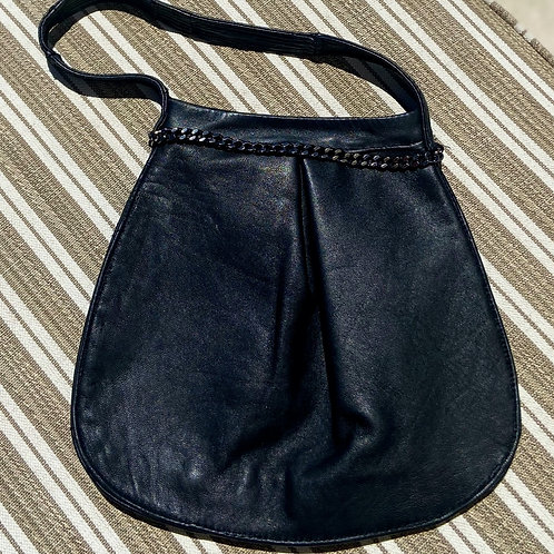 Black Leather Purse w/ Heavy Chain Detail, Silk Lining