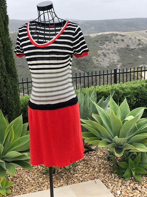Cashmere Dress in Scarlet & Black & White Stripe