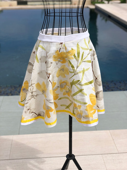 Summer Floral Linen Skirt With Yellow Ribbon Detail