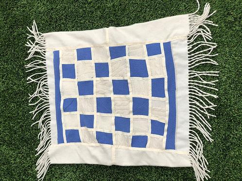 Cashmere Baby Quilt in Ivory & Blue