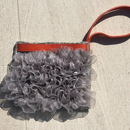 Silver Ribbon Clutch w/Orange Leather Detail