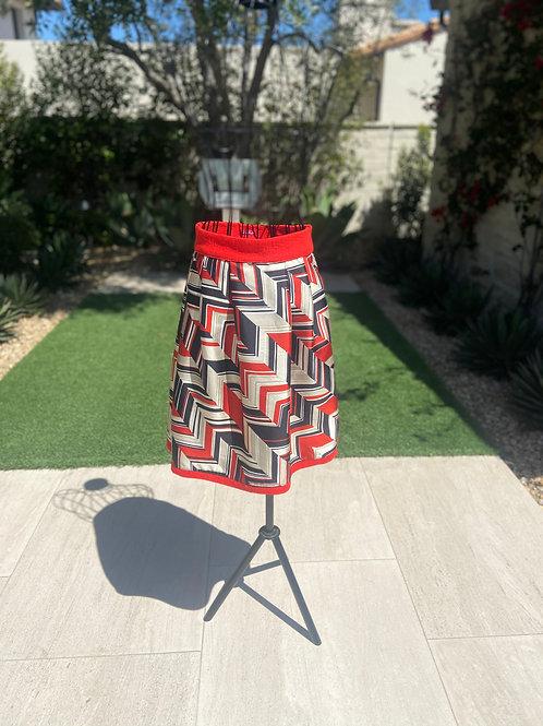 Silk Pleated Skirt w/Coral Belt & Trim