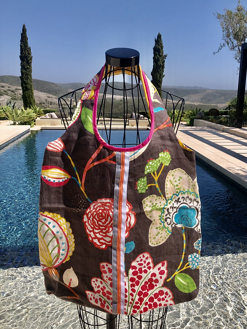 Summer Tote, Lined w/a Pocket & a Matching Pouch, Washable