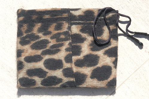Animal Print Cashmere Clutch