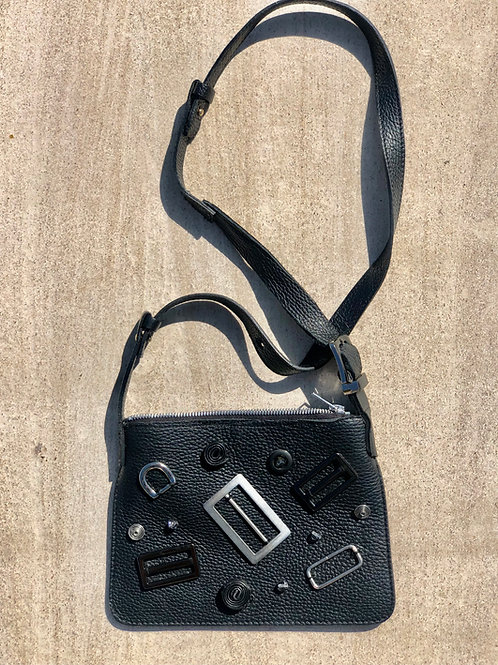 Black Leather Cross Body Bag w/Found Objects