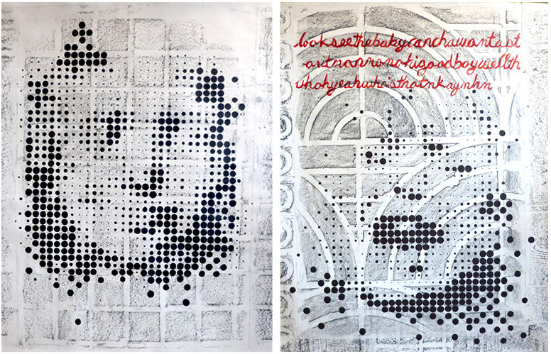 'Blueprints no. 3' and 'no. 4', in which self-construction and 'recognition' are further studied in relation to how Deep Neural Nets separate images into layers and assign values to pixels: these pieces overlay a dot-matrix-like hand-drawn sequence of dots over crayon rubbings made from pavements in and around AMORE's Communication Campus, Universitat Pompeu Fabra, Barcelona. Pieces hinge on the connotation of 'values' and how despite apparent repetition of pattern in the pavements, each dot, each box, is unique. Text along top of no. 4 is a quotation of AMORE's babble: 'lookseethebabycanchawantast… onitnonnohigoodboywellth… whahyeahwwhasthatmkaymhm'. Piece details: (2019), mixed media drawing (crayon, ink and acrylic on paper), 80cm x 100cm.