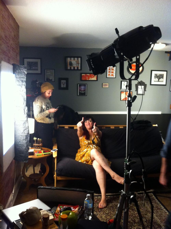 On the set of 'Emilia', c. 2013