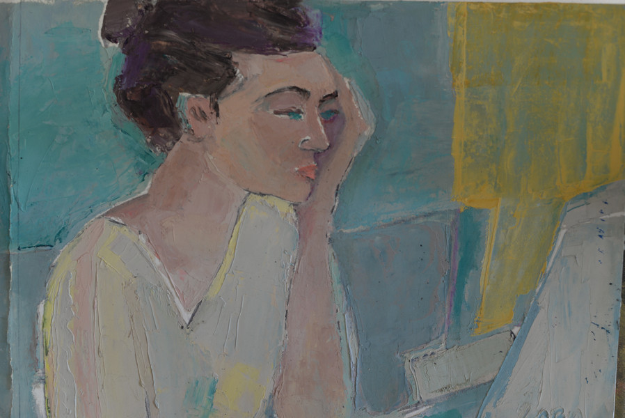 portrait with computer