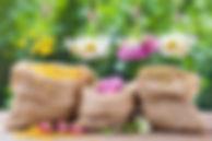 Trois bouquets de fleurs et sacs de jute