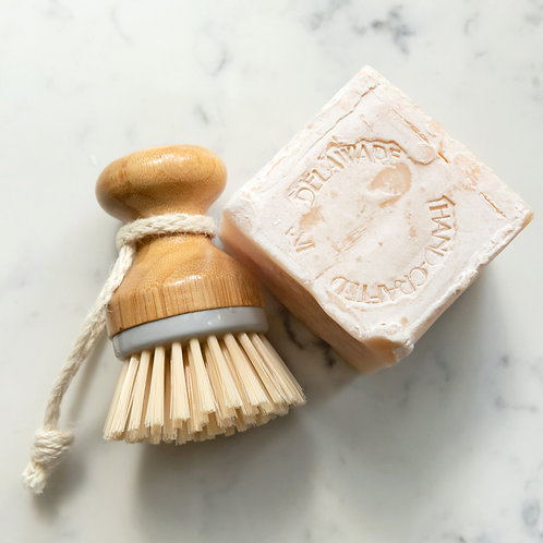 Organic Dish Soap Block & Wooden Scrub Brush